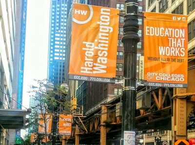 Pole banners for harold washington college