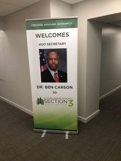 Gamma Imaging Produces Retractable Banner Stand for Dr. Carson's Visit to Chicago