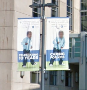 The pole banners shown here will be removed for Nurses' Week at the University of Chicago Hospital & Clinics. New vinyl banners will be installed.