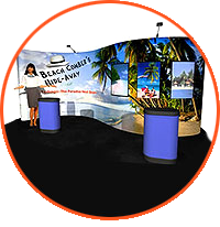 The next generation in large format pop-up displays, Serpentine pop up displays are all new, lightweight, yet heavy duty pop-up booths. See another Trade Show Booth.